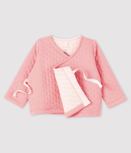 Cárdigan de tejido túbico para bebé rosa Charme