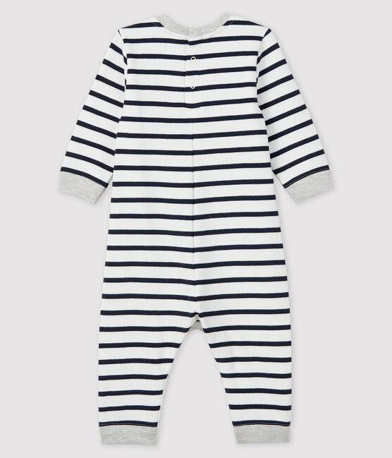 Buzo largo con para bebé niño blanco Marshmallow / azul Smoking