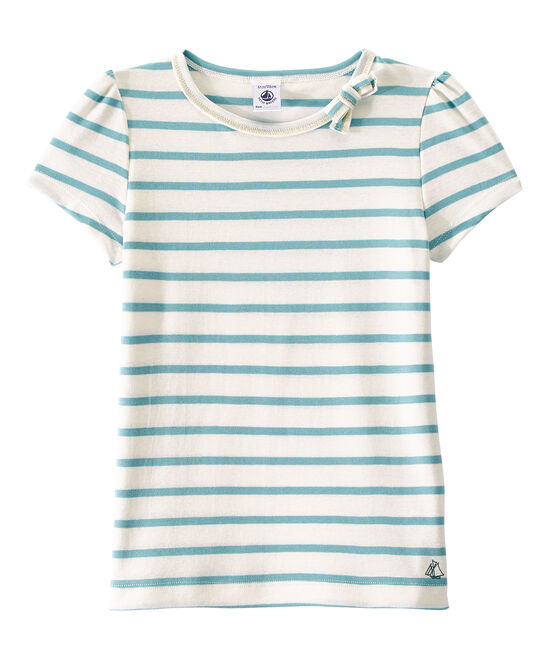 Camiseta chica a rayas marineras/ Camiseta chica de rayas marineras blanco Marshmallow / azul Mimi