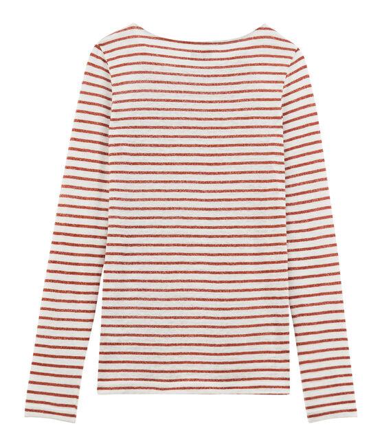 Camiseta manga larga de lino para mujer blanco Marshmallow / rosa Copper