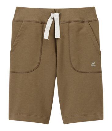 Bermuda para niño en jersey tupido marrón Shitake