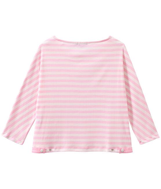 Camiseta de manga tres cuarto rayado rosa Babylone / blanco Marshmallow