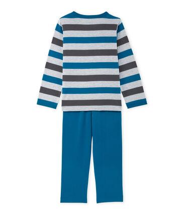 Pijama en jersey rayado para niño gris Poussiere / gris Maki