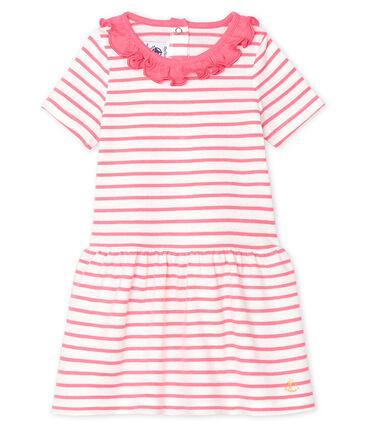 Vestido de rayas con collarín para bebé niña blanco Marshmallow / rosa Cupcake