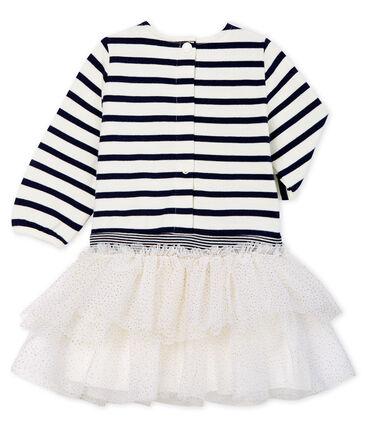 Vestido de manga larga de rayas para bebé niña blanco Marshmallow / azul Smoking