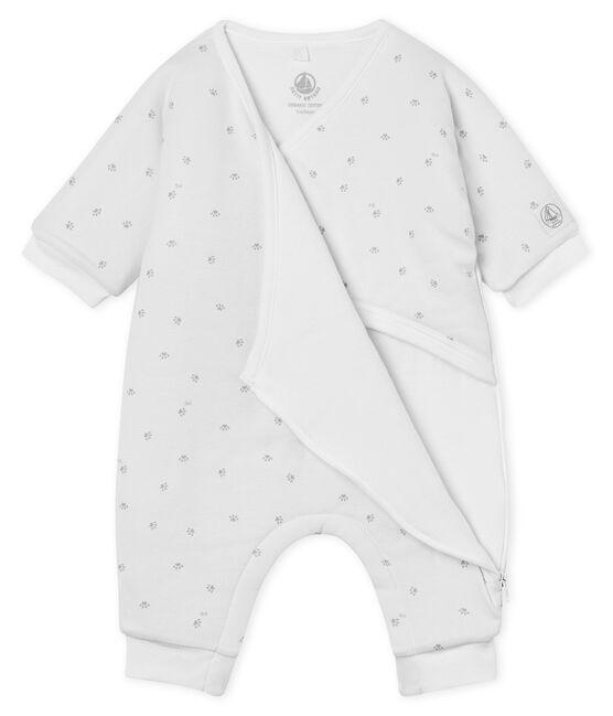 Mono largo de bebé niño acolchado blanco Marshmallow / gris Souriceau