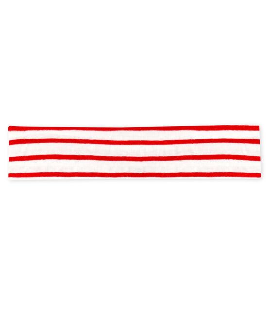 Diadema de rayas para bebé niña blanco Marshmallow / rojo Terkuit