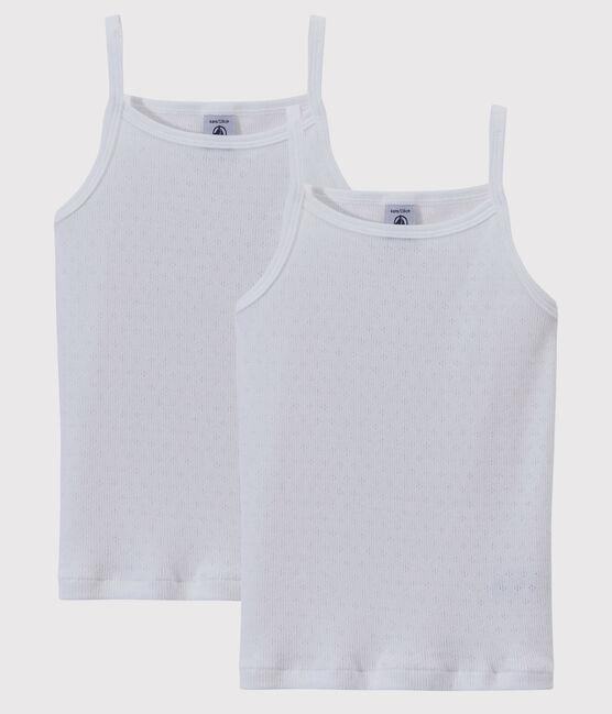 Lote de 2 camisas de tirantes con calados para niña lote .