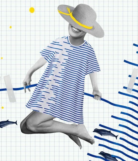 Vestido reedición Hyères de mujer blanco Ecume / azul Delft