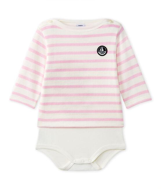Body marinero de manga larga para bebé blanco Marshmallow / rosa Babylone