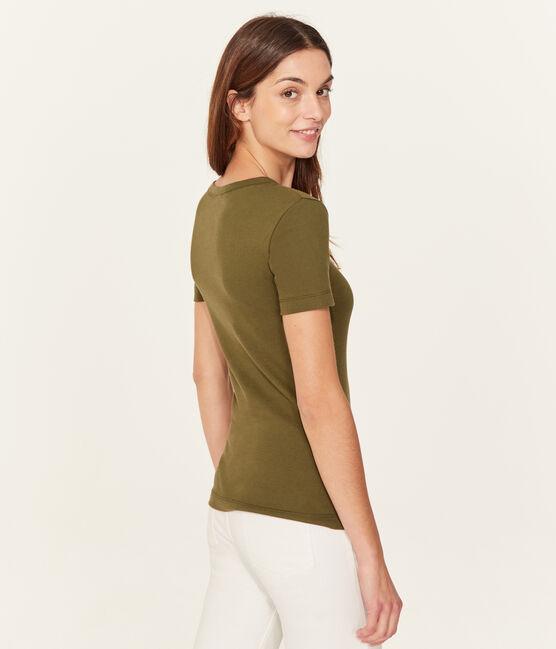 Camiseta de algodón Sea Island para mujer verde Litop