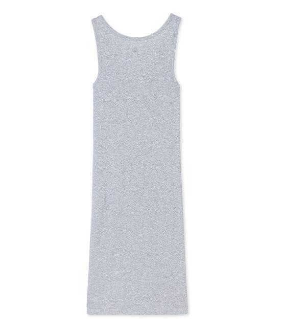 Camisola de algodón muy ligero para mujer gris Fumee Chine