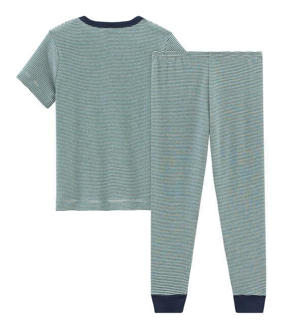 Pijama manga corta de punto para niño verde Pinede / blanco Marshmallow