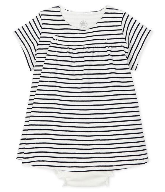 Vestido de manga corta con pololo para bebé niña de canalé blanco Marshmallow / azul Smoking