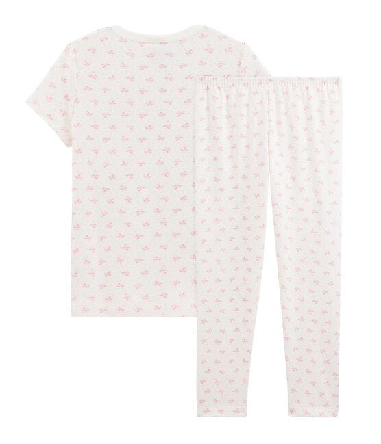 Pijama de flores para niña de canalé blanco Marshmallow / rosa Gretel