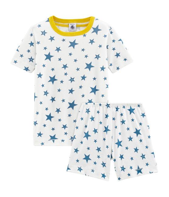 Pijama corto de punto para niño blanco Marshmallow / azul Alaska