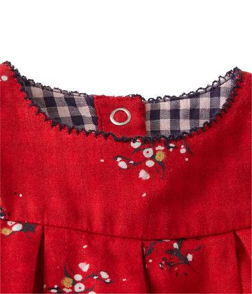 Vestido para bebé niña en lana rojo Froufrou / blanco Multico