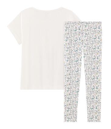 Pijama de punto para chica blanco Marshmallow / blanco Multico