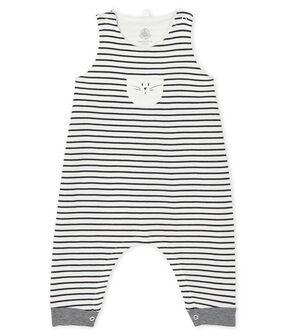 Peto largo icónico para bebé unisex blanco Marshmallow / azul Smoking