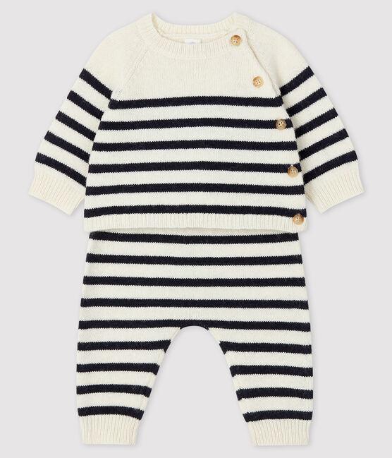 Conjunto de 2 piezas de punto a rayas para bebé blanco Marshmallow / azul Smoking