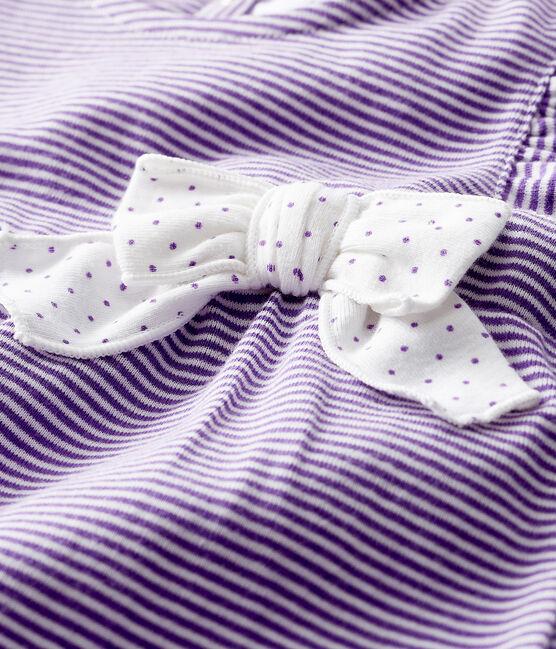 Pelele corto milrayas para bebé niña violeta Real / blanco Marshmallow