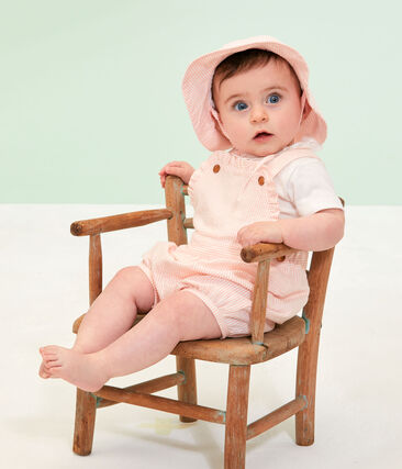 Peto corto de rayas para bebé niña rosa Rosako / blanco Marshmallow