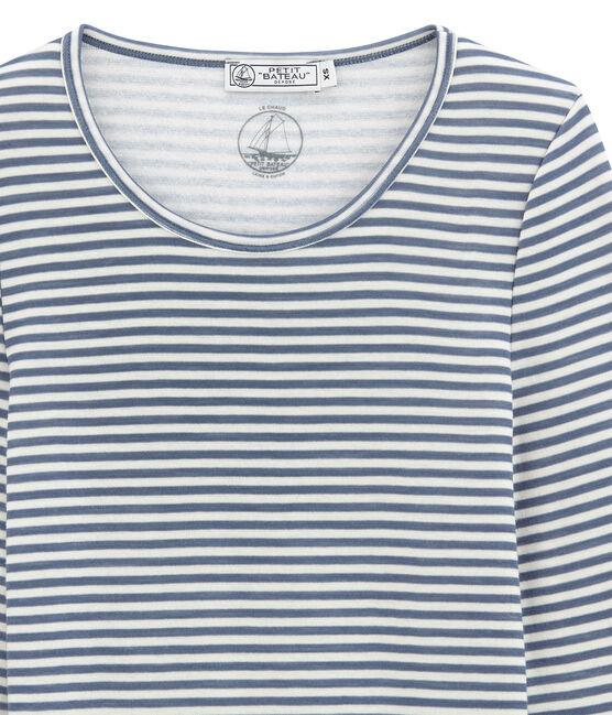 Camiseta de manga larga de algodón y lana para mujer azul Turquin / blanco Marshmallow