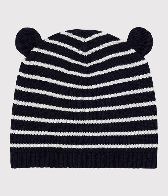 Gorro a rayas para bebé niña/niño azul Smoking / blanco Marshmallow