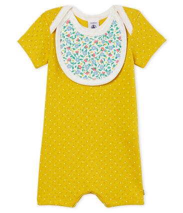Mono corto de punto para bebé niña amarillo Honey / blanco Marshmallow