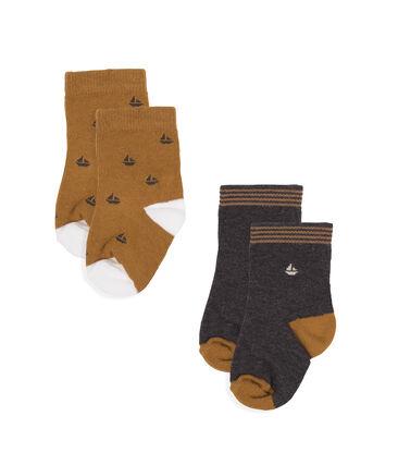 Lote de 2 pares de calcetines para bebé niño gris City Chine