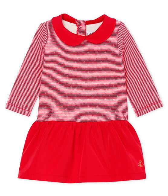 Vestido de bebé de manga larga en túbico milrayas para niña rojo Terkuit