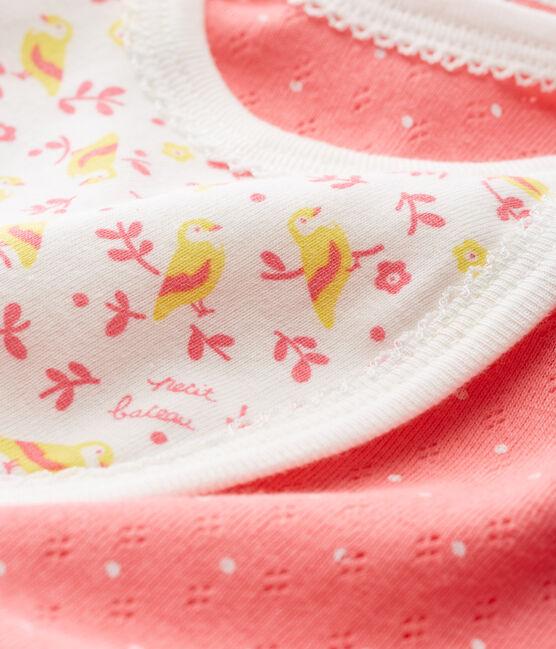 Mono corto de punto para bebé niña rosa Cupcake / blanco Marshmallow Cn