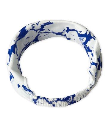Bandana para niña estampada blanco Marshmallow / azul Perse