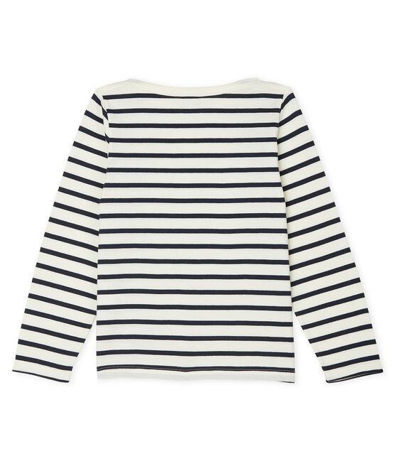 Camiseta marinera infantil unisex beige Coquille / azul Smoking