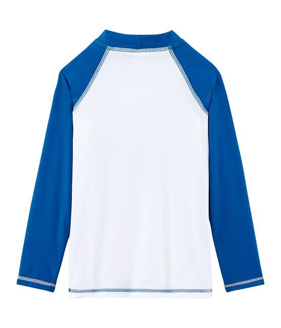 Camiseta anti-UV UPF 50+ para niño y niña blanco Marshmallow / azul Riyadh
