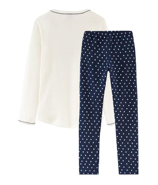 Pijama de punto para niña azul Haddock / blanco Marshmallow