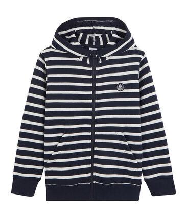Sudadera con capucha para niño blanco Marshmallow / azul Smoking