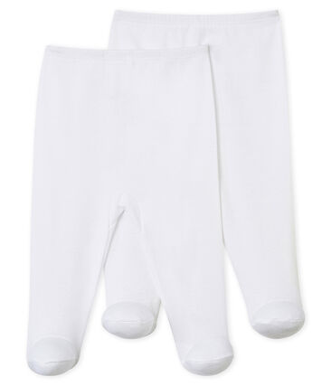 Juego de 2 pantalones con pies para bebé