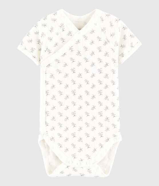 Bodi cruzado de manga corta de bebé niña/niño blanco Marshmallow / blanco Multico