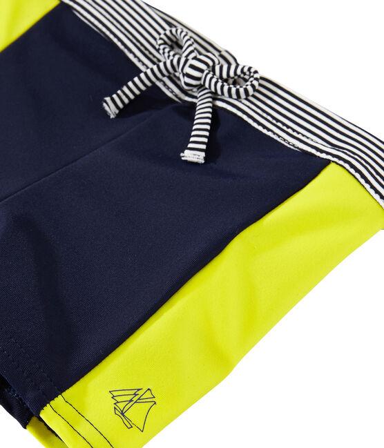 Short de baño ecorresponsable para bebé niño azul Smoking / amarillo Jaune