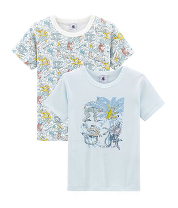 Par de camisetas manga corta de algodón infantiles para niño lote .