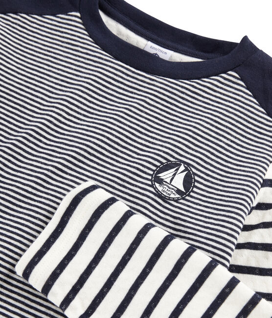 Camiseta de rayas infantil azul Smoking / blanco Marshmallow