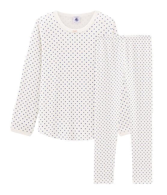 Pijama de punto para niña blanco Marshmallow / azul Major Cn
