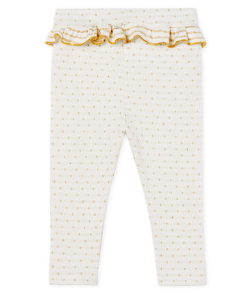 Leggings con volantes para bebé niña blanco Marshmallow / amarillo Or