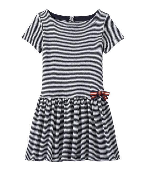 Vestido milrayas para niña azul Smoking / blanco Lait