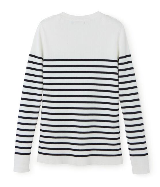 Jersey para mujer blanco Lait / azul Smoking
