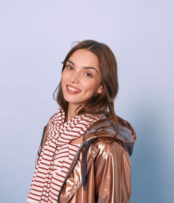 Bufanda de lino irisada para mujer blanco Marshmallow / rosa Copper