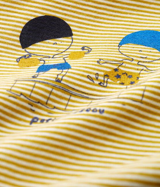 Mono corto milrayas para bebé niño amarillo Bamboo / blanco Marshmallow Cn