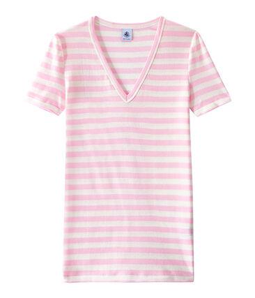 Camiseta de canalé original de rayas con cuello en pico para mujer rosa Babylone / blanco Marshmallow
