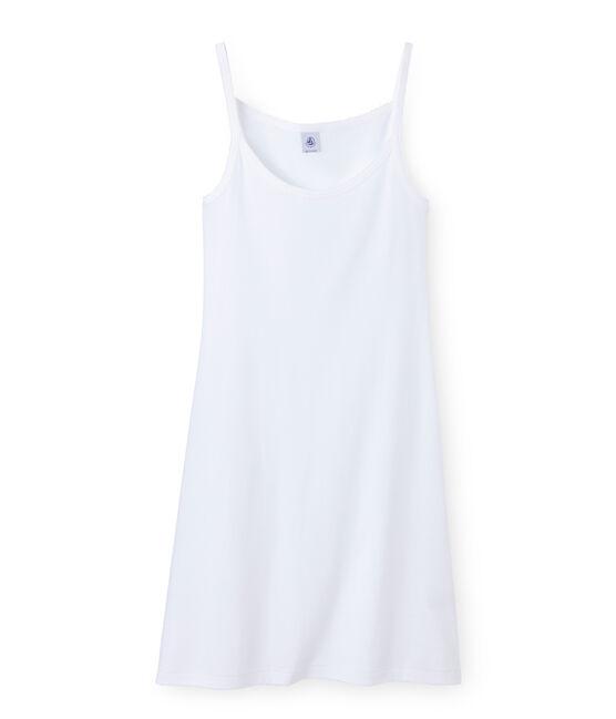 Chemise à bretelles femme coton/laine/soie blanco Lait
